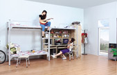 Unilateral ladder double joint three people iron bed